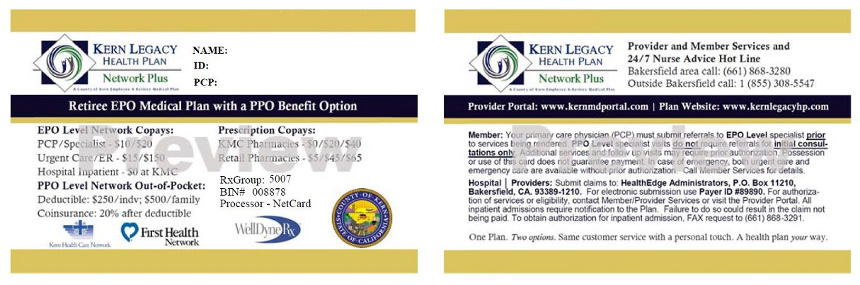For Providers - Sample Id Cards: Kern Legacy Health Plan